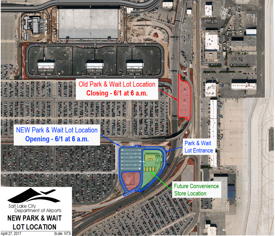 New Park and Wait Lot Coming June 1 - Wheels Up Slc Airport Map on jac airport map, utah airport map, bli airport map, scl airport map, sbp airport map, msp airport map, prg airport map, jfk airport map, las vegas airport map, roc airport map, phl airport map, cll airport map, phx airport map, atl airport map, dca airport map, fnt airport map, salt lake international airport map, eug airport map, tlh airport map, dtw airport map,