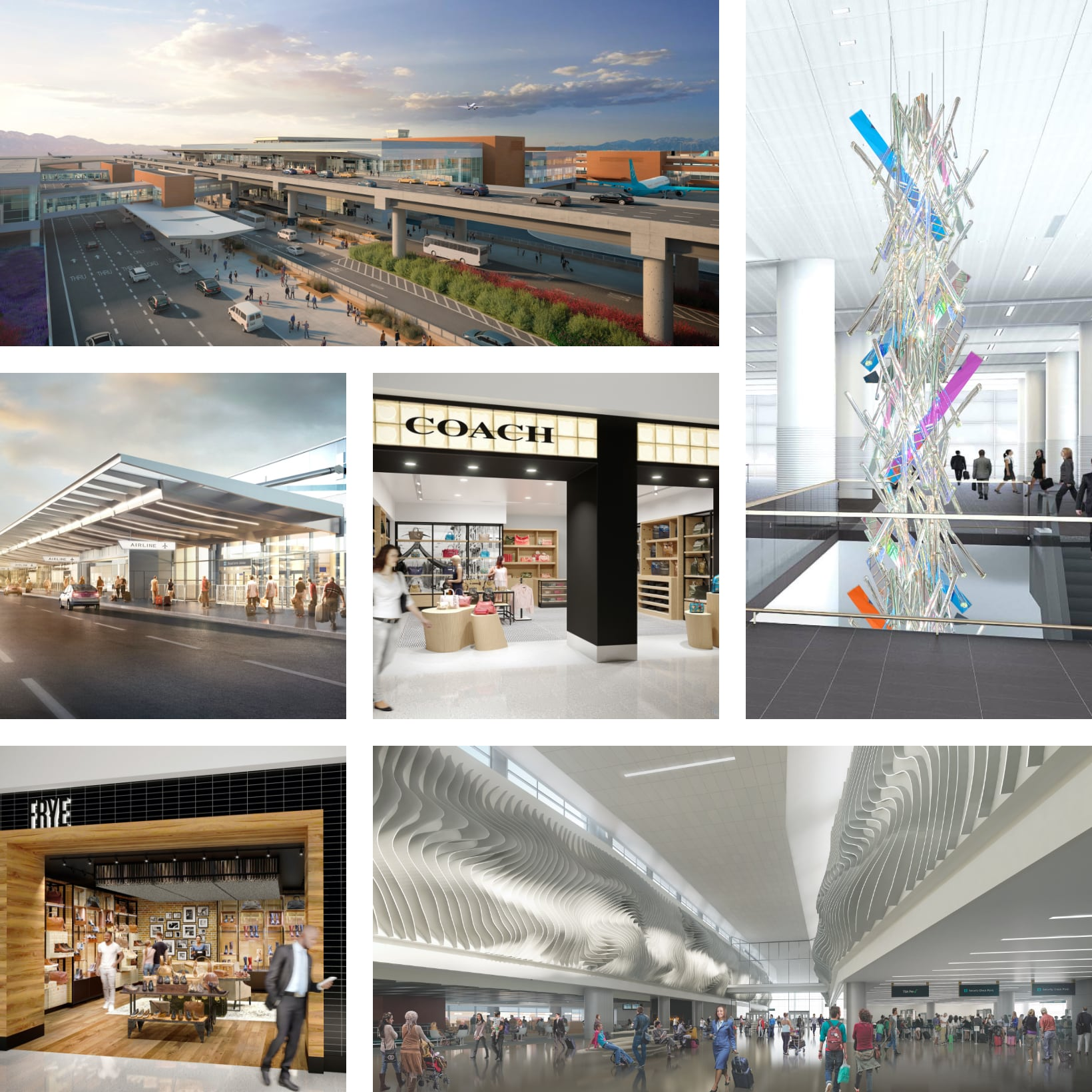 various architectural renderings of the New SLC International Airport